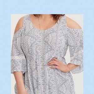 Torrid Cold Shoulder top with Bell sleeves & lace